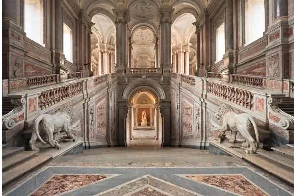 Grand staircase at the Royal Palace of Caserta