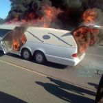 Hearse on fire