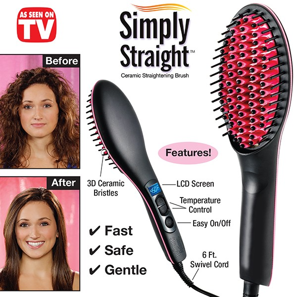 Simply Straight Ceramic Hair Brush Straightener, Black/Pink
