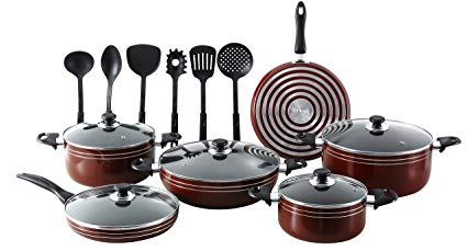 Seemann 17 Pc Nonstick Pots And Pans Kitchen Cookware Gift Set With Cooking Utensils- Red/Maroon