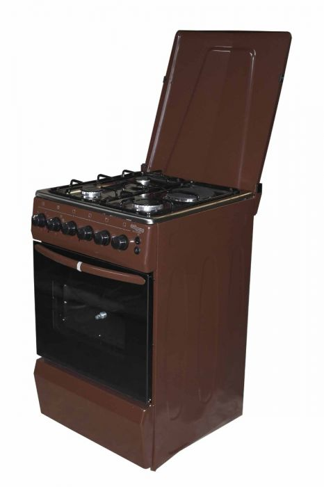 Super General SGC5470BRN-Electric Cooker 50X55 with 3 Gas Burners + 1 Hot Plate-Stainless steel With Tempered Glass-TOP-Brown