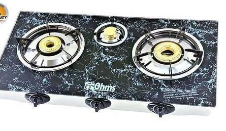 OHMS 3 Burner Gas Cooker with Ceramic Top - Black