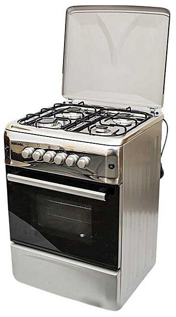 Bruhm BGC 6640NX - 60cm x 60cm - 4 Gas Free Standing Cooker - Silver (Metallic Grey)