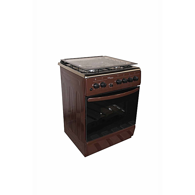 Super General SGC6470BRN-Electric Cooker 60X60 with 3 Gas Burners + 1 Hot Plate-Stainless steel With Tempered Glass-TOP-Brown