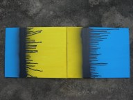 """Designed to make Harry's """"red"""" couches stand out. Diptych painting series painted by Kassandra Bowers Lakazdi spray paint drips bold colour primary black blue yellow multiple"""