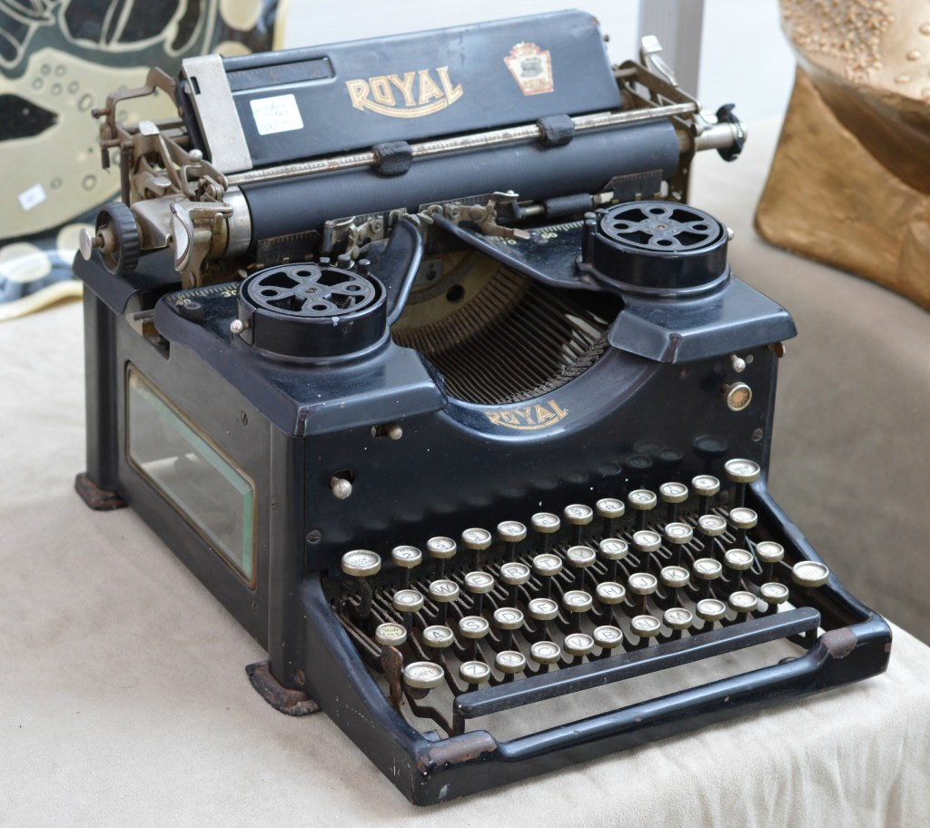 A vintage typerwriter for the win. There were lots of these hanging around.