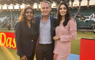 Michael Slater and I pictured with Zainab Abbas, the face of Pakistan cricket.