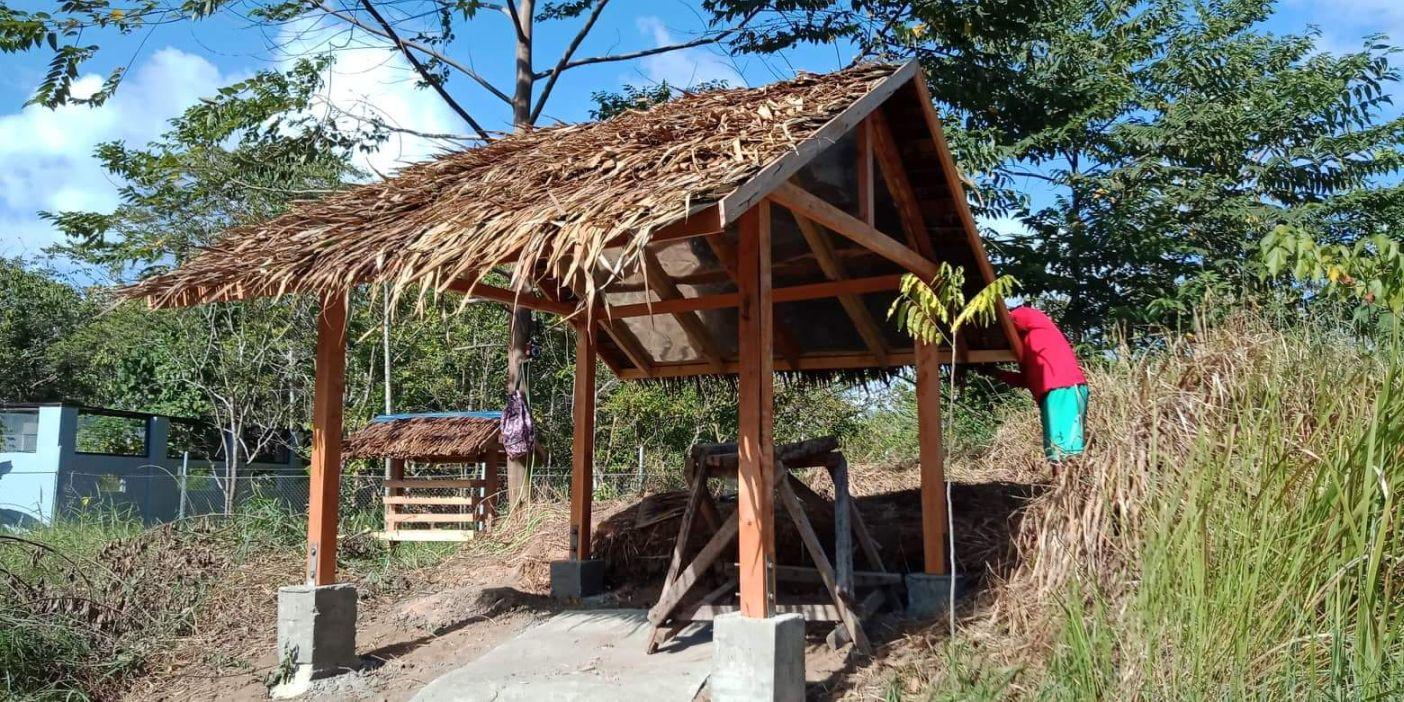 Shelter construction in deer enclosure, Katala Institute