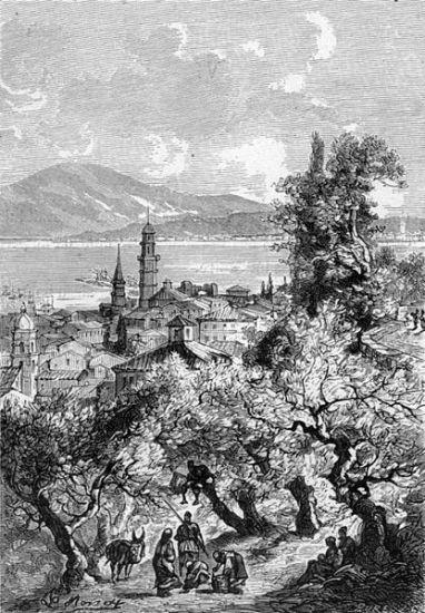 ZANTE . fronpage of Julius Verne novel 'The_Archipelago on Fire, illustration by Léon Benett , 1884