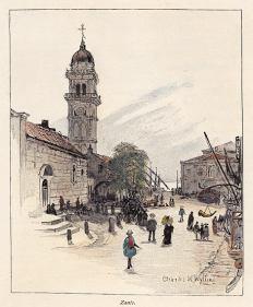 ZANTE . plateia Agion Panton, by C.Wyllie - 1892