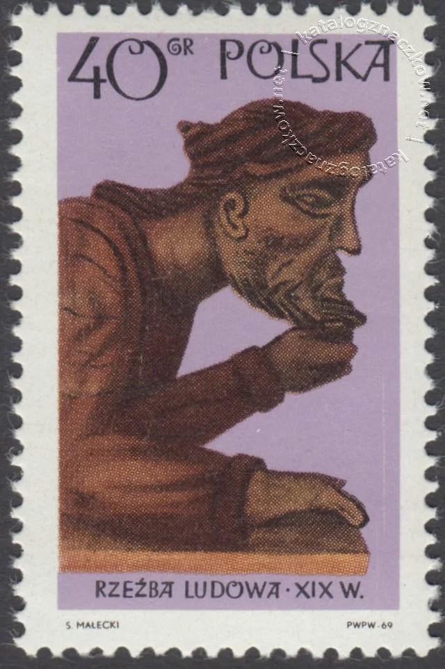 Polska rzeźba ludowa znaczek nr 1825