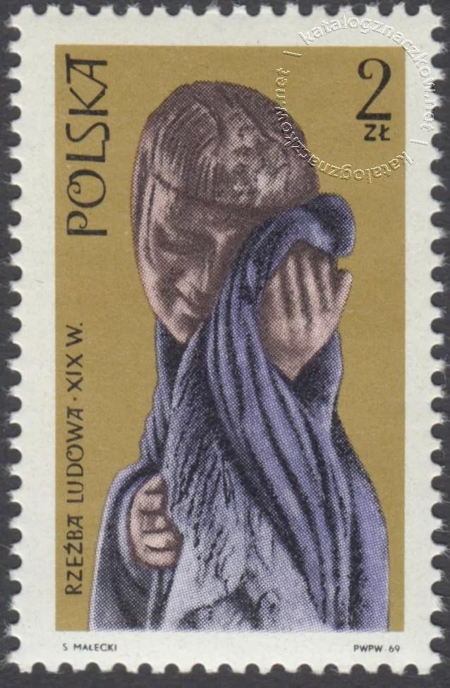Polska rzeźba ludowa znaczek nr 1827