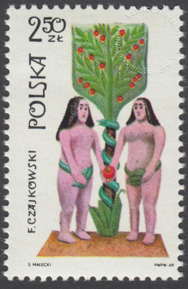 Polska rzeźba ludowa znaczek nr 1828