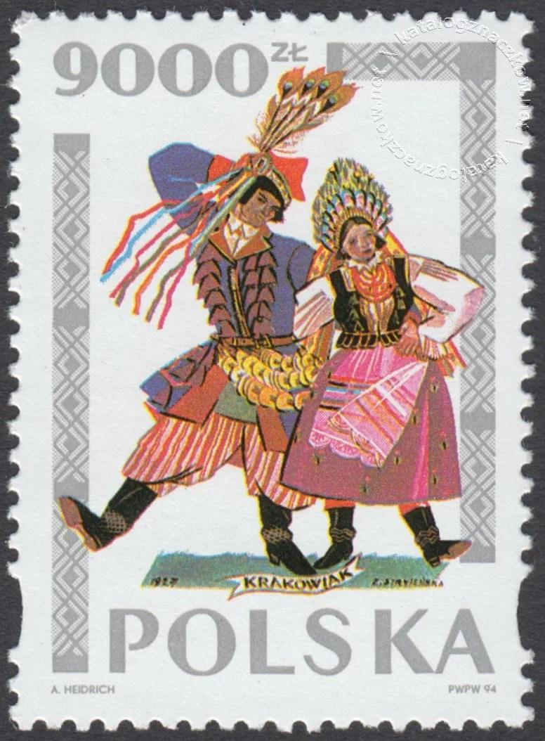 Tańce polskie wg Zofii Stryjeńskiej znaczek nr 3344