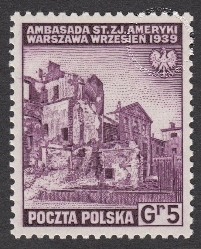 Zniszczenia dokonane przez Niemców w Polsce. Wojsko polskie w Wielkiej Brytanii znaczek nr A338