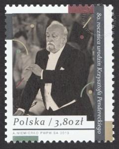 80. rocznica urodzin Krzysztofa Pendereckiego - znaczek nr 4503