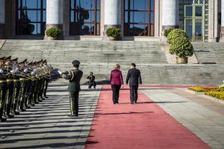 Chinese PM PM Li Keqiang receives Chancellor Angela Merkel with Military Honors in front of Great Hall of the People in Bejing, China