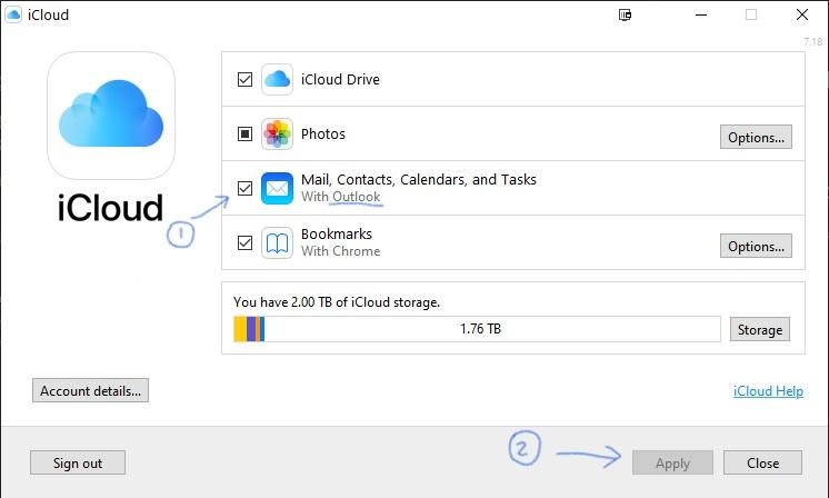 iCloud Outlook sync