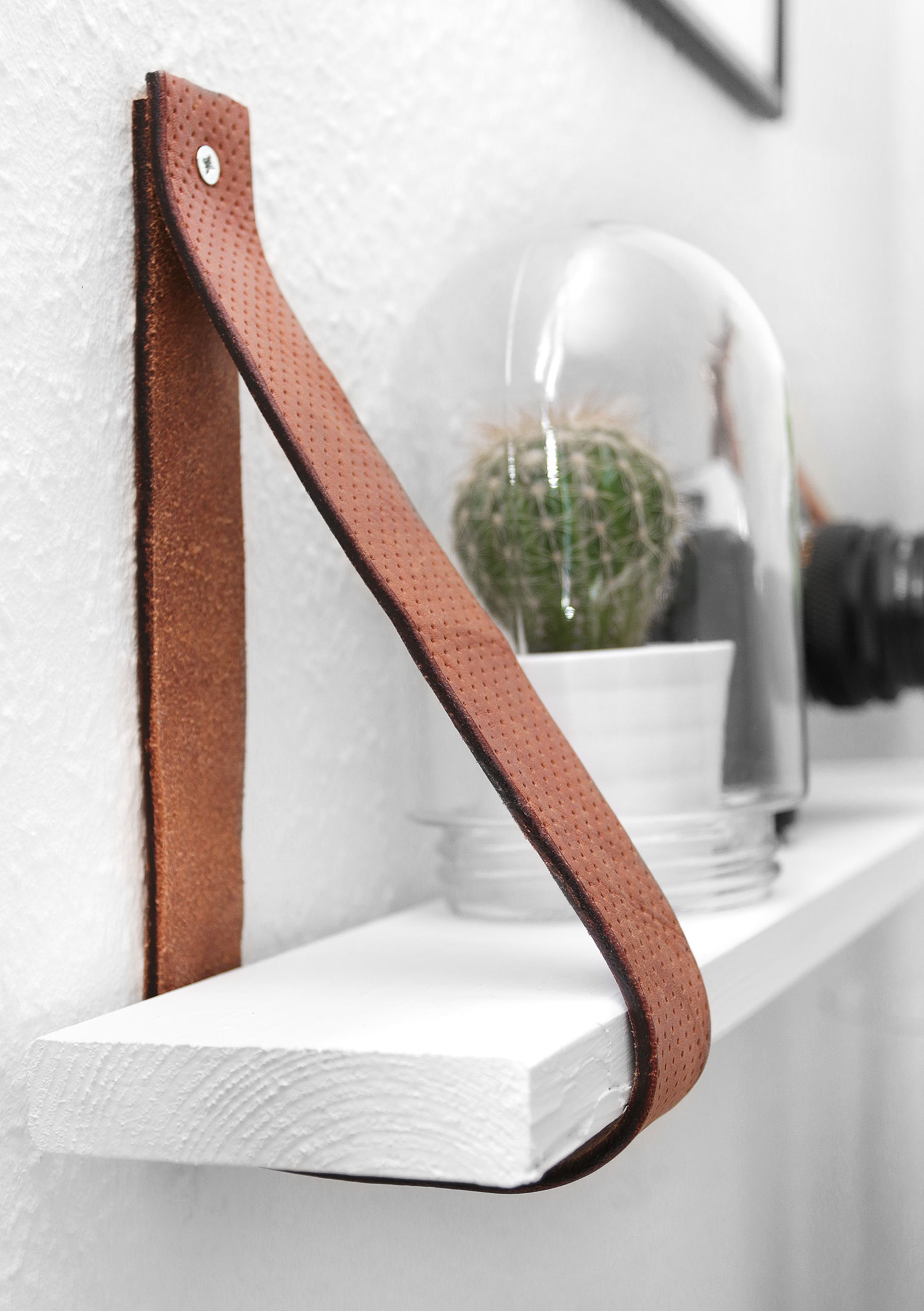 DIY leather Belt Shelf by Katarina Natalie