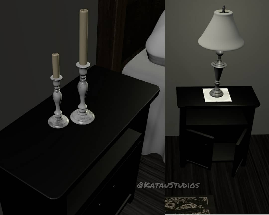3D bedroom detail: night tables with marble candlesticks, opening doors and a lamp.