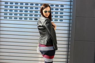 Daily Look Superdry casual dress and Bomboogie Leather Jacket_02