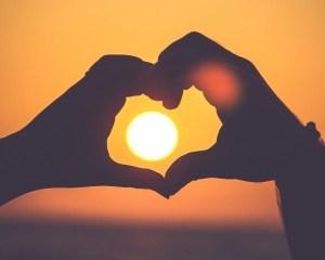 romance heart sunset