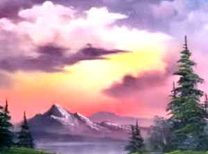 bob ross sunset aglow