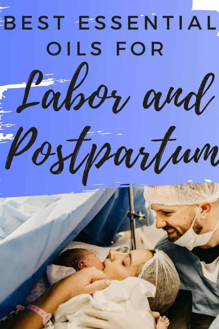 best essential oils for labor and postpartum pinterest image