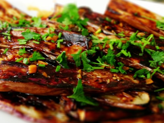 Glazed and Grilled Japanese Eggplant