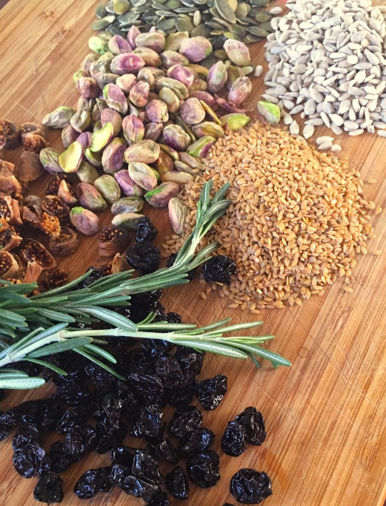 Nuts, seeds, dried fruits & rosemary.