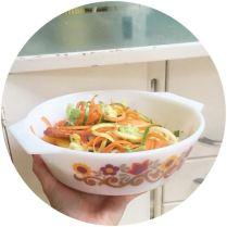 Vintage Pyrex with healthy spiralised food on Kate Beavis Home blog
