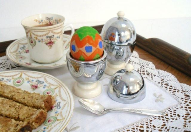 vintage easter painted egg with vintage tea cups and plates from Kate Beavis