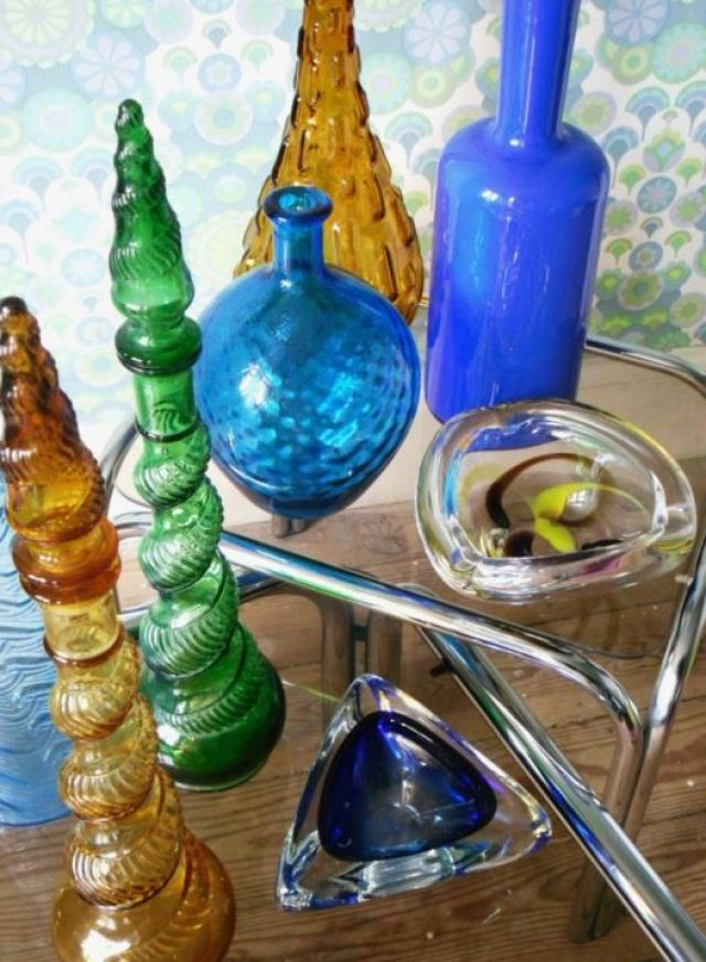 Vintage chrome tables and glass medicine bottles as featured in Kate beavis blog