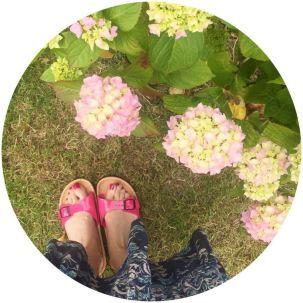Pink Birkenstocks on Kate Beavis Vintage Home blog