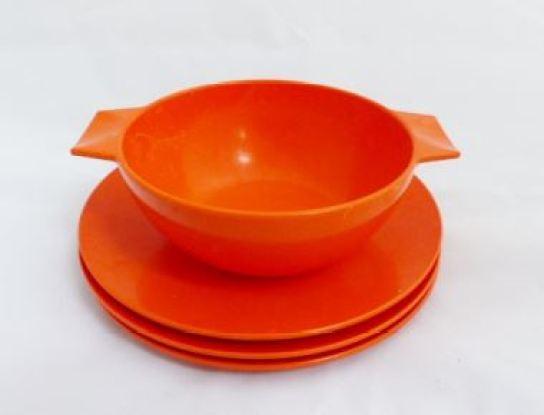Vintage retro orange Melaware kitchenware by Kate Beavis
