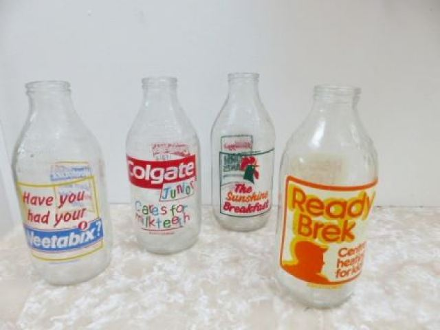1980s vintage milk bottles from Kate Beavis