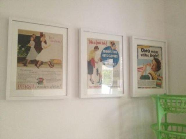 Vintage Styling Tips - Vintage Spring Clean - adverts in frames via Your Vintage Life by Kate Beavis