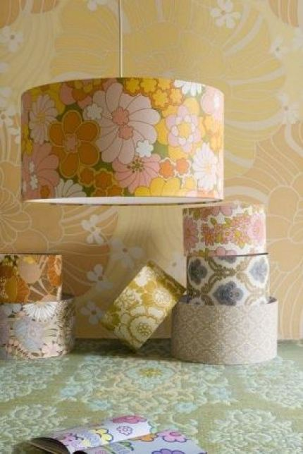 vintage wallpaper lamp shades from Kate Beavis