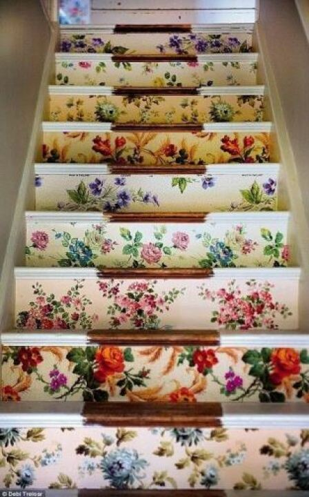 vintage wallpaper stairs from kate Beavis