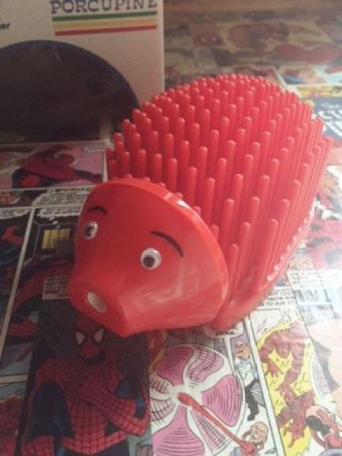 retro 1980s porcupine hedgehog pen holder