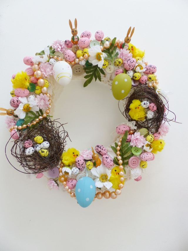 Vintage handmade craft easter wreath by Kate Beavis