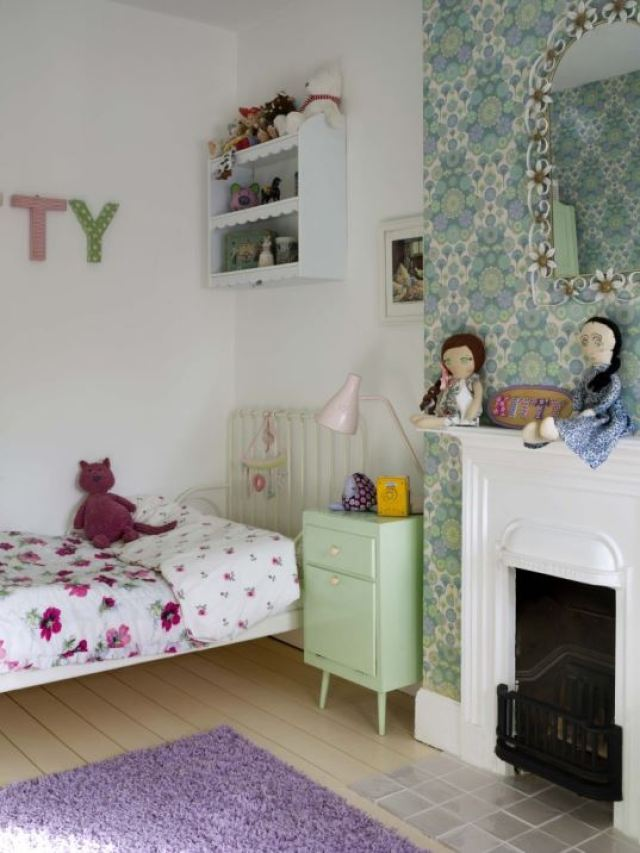 vintage girls room with vintage wallpaper photo by Simon Whitmore for Style Your Modern Vintage Home by Kate Beavis