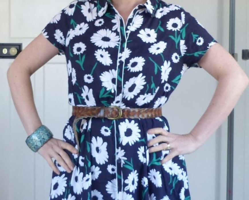 Tu at Sainsburys Vintage Style dress  worn with vintage accessories by Kate Beavis