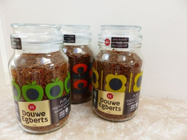 Orla Kiely coffee jars for Douwe Egberts as styled by Kate Beavis Vintage Home