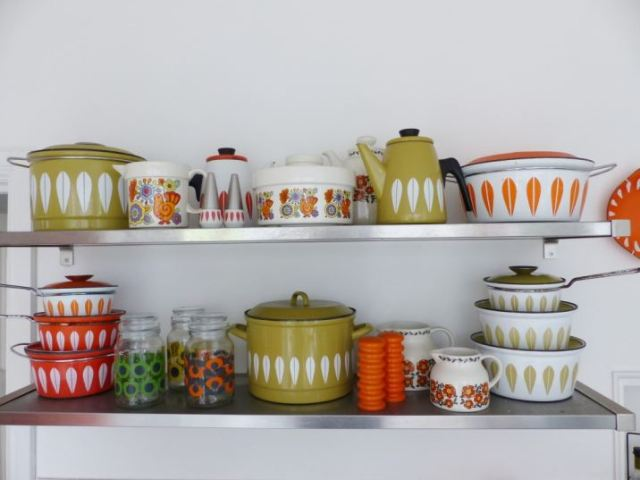 Orla Kiely coffee jars for Douwe Egberts as styled by Kate Beavis Vintage Home with CathrineHolm cookware, vintage kitchen