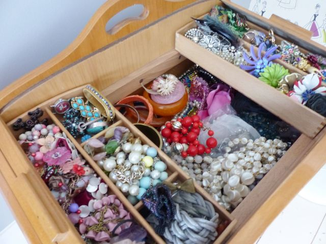 Vintage jewellery stored in a Danish 1960s sewing box by Kate Beavis
