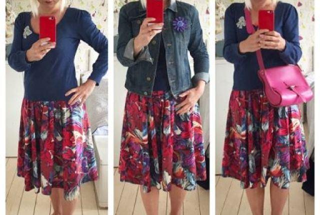 Kate Beavis wearing 1950s vintage skirt and bag