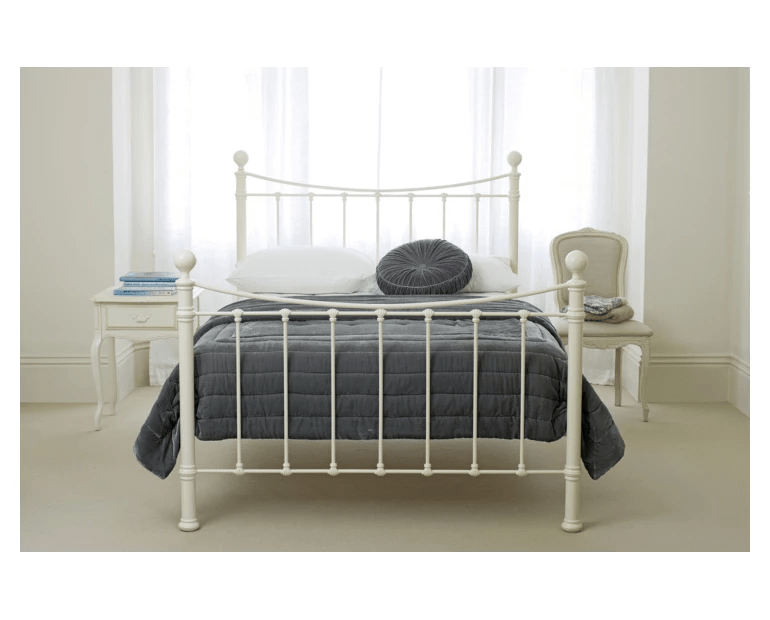 Laura Ashley metal bed as featured on Kate Beavis Vintage Home Blog