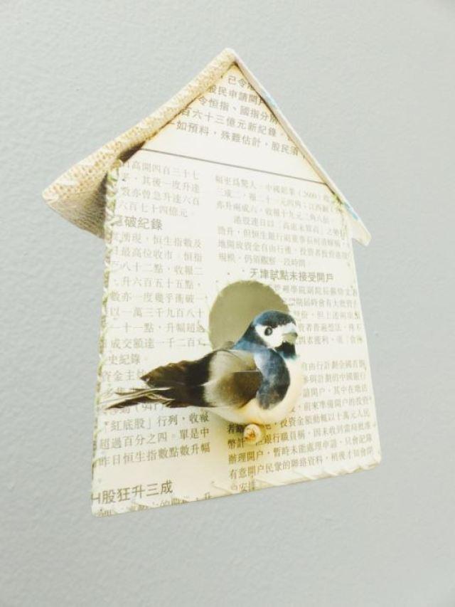 Bird house vinyl wall sticker from Nubie as featured on Kate Beavis Vintage Home blog