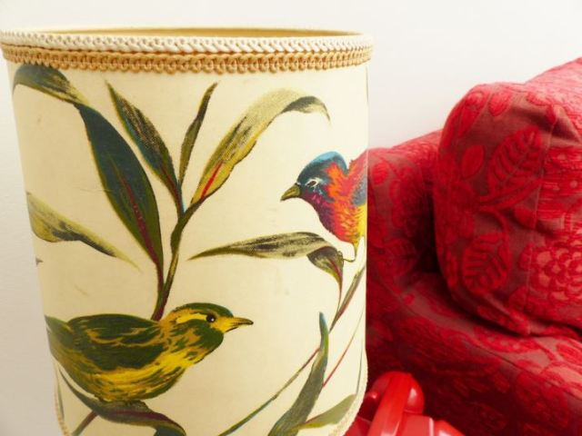 Vintage 1970s bird lampshade as featured on Kate Beavis Vintage Home Blog
